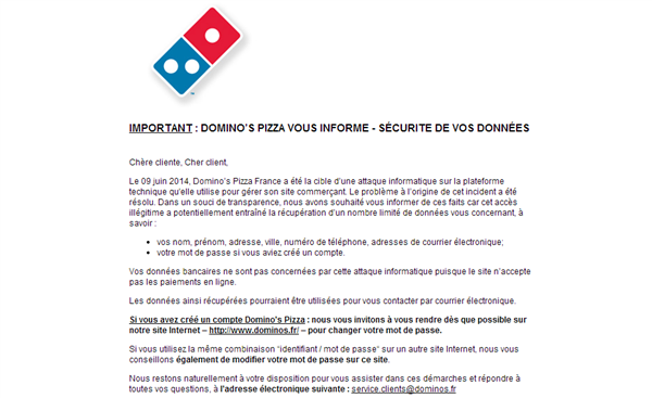 dominos pizza_mail informatif clts faille