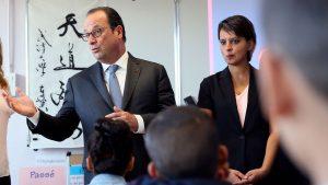 Najat Vallaud-Belkacem et François Hollande_rentrée scolaire 2016 2017 Orléans
