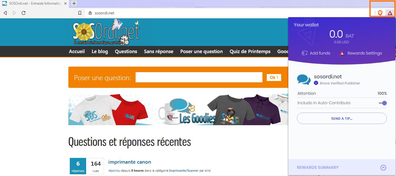 SOSOrdi.net : comment faire un don depuis Brave et sans payer ! (c'est BAT)