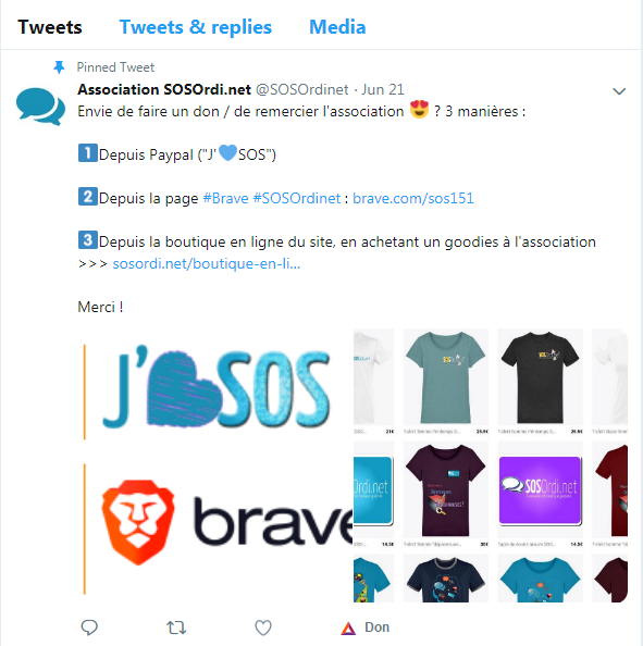 SOSOrdi.net : faire un don sous Brave depuis un simple Tweet de l'association !